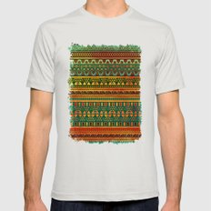 Inspired Aztec Pattern 3 Mens Fitted Tee Silver SMALL