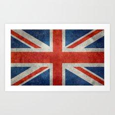 UK British Union Jack flag retro style Art Print