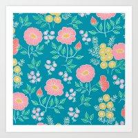 Hexagon Floral 2 Art Print