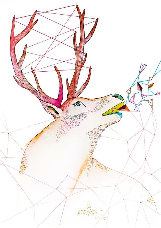October Deer Art Print