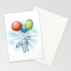 Cute Little Blue Bunny Flying With Balloons Stationery Cards