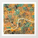 London Mosaic Map #3 Art Print