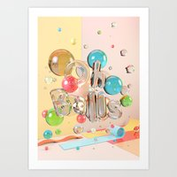 Oh Balls - Ch Typography Print Art Print