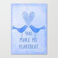 Heartbeat Blue Canvas Print