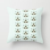 Mint Blossoms Throw Pillow