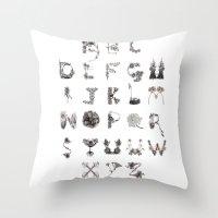 Floral Alphabet  Throw Pillow