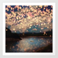 pixel Art Prints featuring Love Wish Lanterns by Paula Belle Flores
