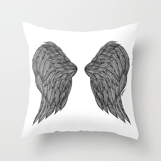 wings art print black and white throw pillow