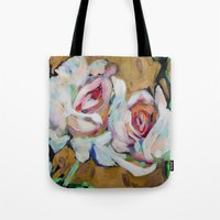 Two Roses on Gold Tote Bag