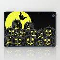 Pumpkins and bat at night iPad Case