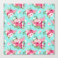 Cottage Chic Pink And Re… Canvas Print