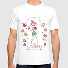 Cupcakes SMALL Mens Fitted Tee White