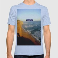 Sunset glowing on the limestone Cliffs Mens Fitted Tee Athletic Blue SMALL