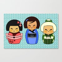 Kokeshis (Japanese Dolls… Canvas Print