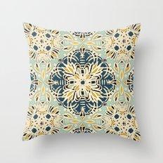 Protea Pattern in Deep Teal, Cream, Sage Green & Yellow Ochre  Throw Pillow