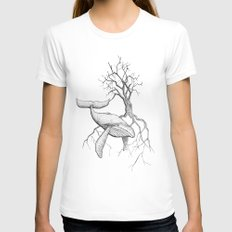 The Land Meets the Sea Womens Fitted Tee White SMALL