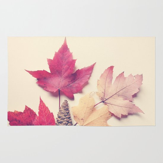 Red Maple Leaf Collection Area & Throw Rug