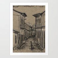 Old Village Alley Art Print