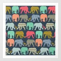 Baby Elephants And Flami… Art Print