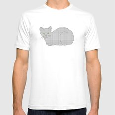 Gray Cat on Floral  SMALL White Mens Fitted Tee