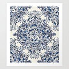 Floral Diamond Doodle in Dark Blue and Cream Art Print