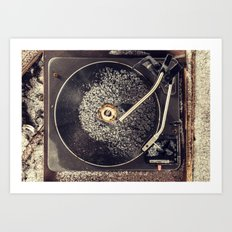 Record Player in Snow Art Print