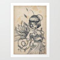 Girl And Flower Art Print