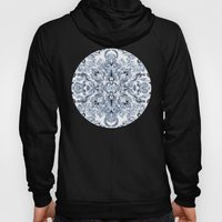 Indigo, Navy Blue and White Calligraphy Doodle Pattern Hoody
