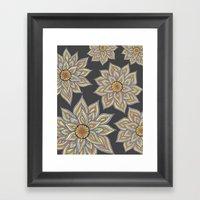 Floral Rhythm In The Dark Framed Art Print