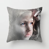 Girl with Bow Throw Pillow
