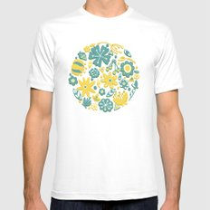 Little Flower Circle White Mens Fitted Tee SMALL