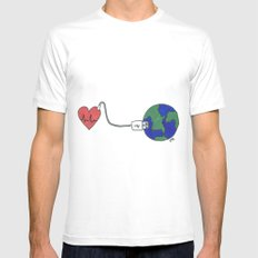 World and Love Mens Fitted Tee White SMALL
