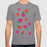 Little Pink Flowers Mens Fitted Tee Tri-Grey SMALL