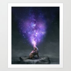 All Things Share the Same Breath (Coyote Galaxy) Art Print