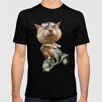 RUNAWAY CAT Mens Fitted Tee Black SMALL