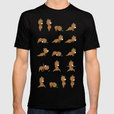 Yoga Bear Black Mens Fitted Tee SMALL