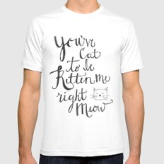 Right Meow SMALL Mens Fitted Tee White