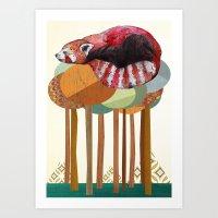 panda Art Prints featuring Red Panda by Sandra Dieckmann