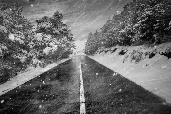 """Snowstorm in the road"" Art Print"