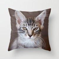 Kitten portrait 2596 Throw Pillow