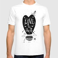 LOVE IS IN THE AIR Mens Fitted Tee White SMALL