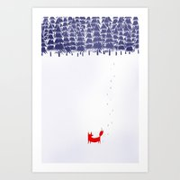 fox Art Prints featuring Alone in the forest by Robert Farkas