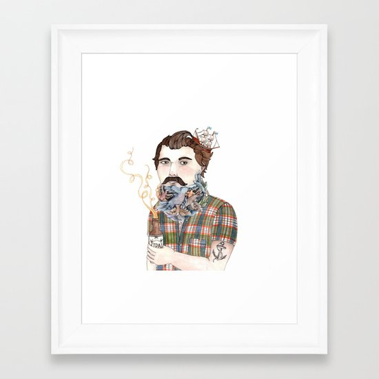 Flock of Beards Framed Art Print
