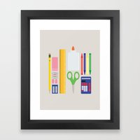 School House Colored Framed Art Print
