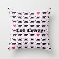 Cat Crazy Throw Pillow