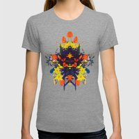 CRAZY FLOWERS Womens Fitted Tee Tri-Grey SMALL