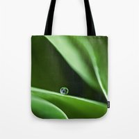 Green Waves And A Drop Tote Bag