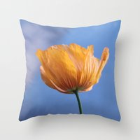 A spring wild yellow flower in blue background. Throw Pillow