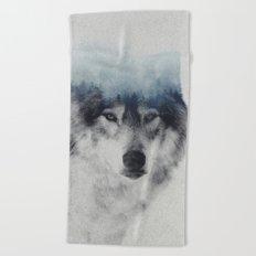 Grey Wolf In Fog Beach Towel