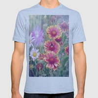 Multi Coloured Flowers with Bee Mens Fitted Tee Athletic Blue SMALL